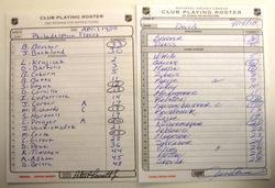Flyers vs. Devils Line-up Cards Auction