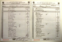 Red Wings vs. Coyotes Line-up Cards Auction